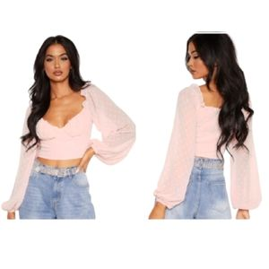 NWT Pretty Little Things Rose Dobby Mesh Crop Top